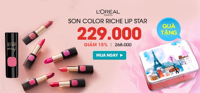 loreal - color riche mm lip star tặng hộp thiếc